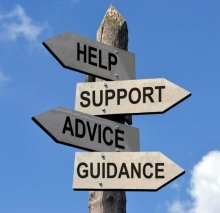help, support, advice, and guidance road sign